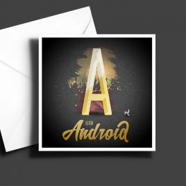 A to Z: Movie Edition - A is for Android 6 x 6 Greetings Card