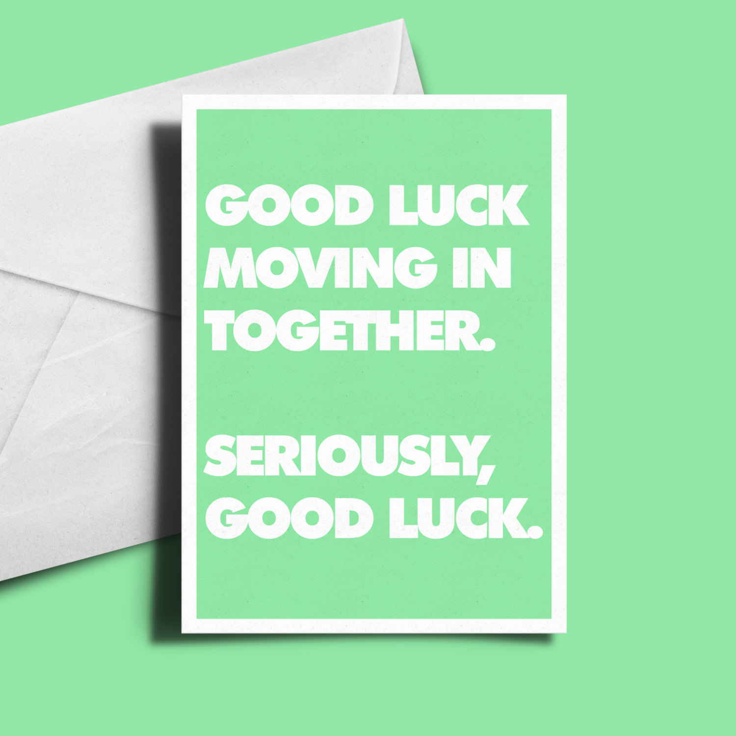 Alternative Greetings Card Good Luck Moving In Together Rocket Bunny