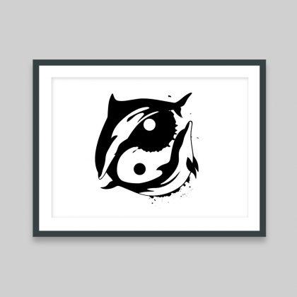 Dolphin-Yang - A3 Print