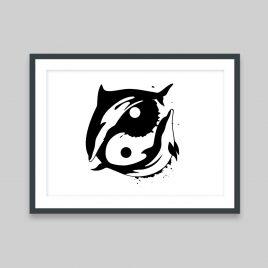 Dolphin-Yang - A4 Print