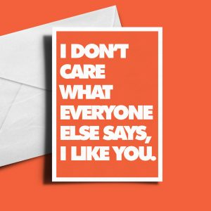 Alternative Valentine's Day Card - I Don't Care What Everyone Else Says.