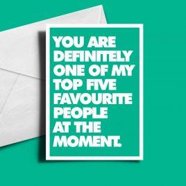 Alternative Valentine's Day Card - Definitely Top Five.