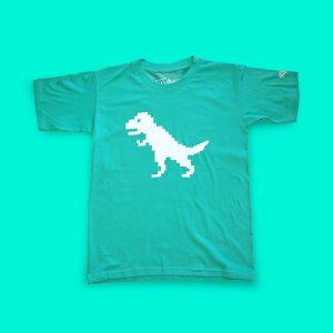 Children's Pixelsaurus t-shirt - funky, hand-printed triceratops dinosaur tee for kids