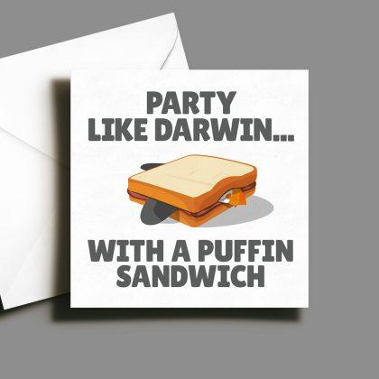 Alternative Greetings Card - Party Like Darwin Puffin Sandwich