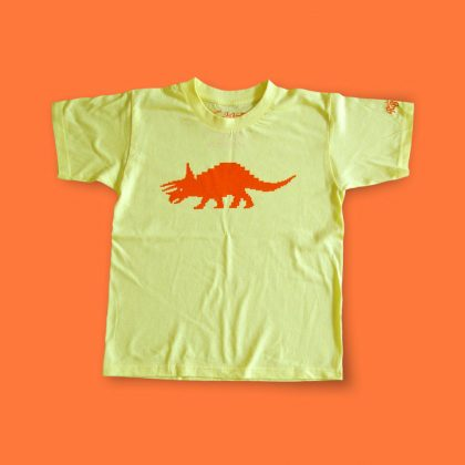 Children's Tricerapixel t-shirt - funky, hand-printed triceratops dinosaur tee for kids